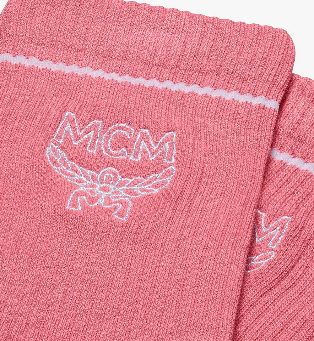 MCM Classic Logo Cotton Socks Pink MEZASBM01PK0ML Alternate View 1