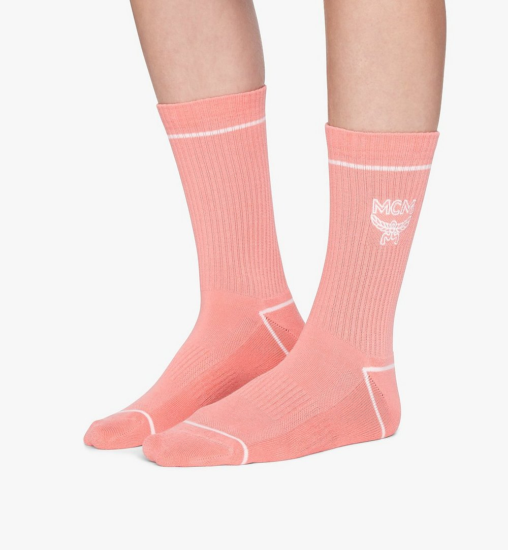 MCM Classic Logo Cotton Socks Pink MEZASBM01PK0ML Alternate View 2