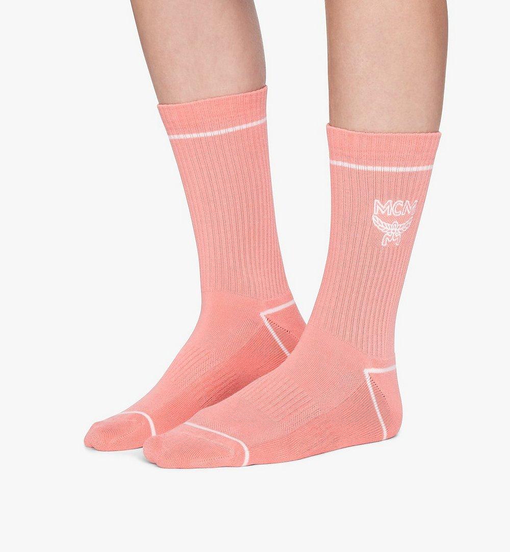MCM Classic Logo Cotton Socks Pink MEZASBM01PK0SM Alternate View 2
