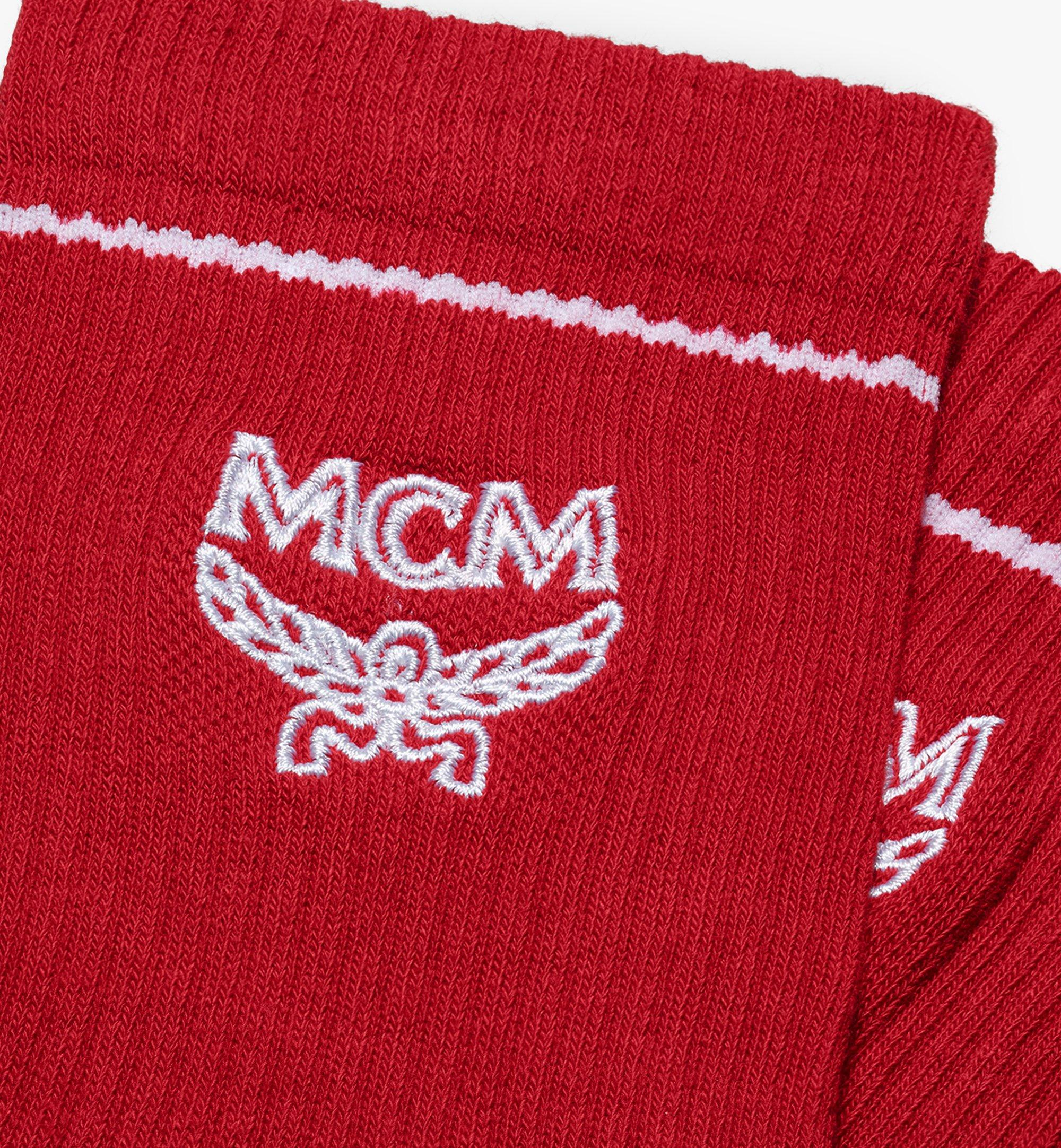 MCM Classic Logo Cotton Socks Red MEZASBM01RE0ML Alternate View 1