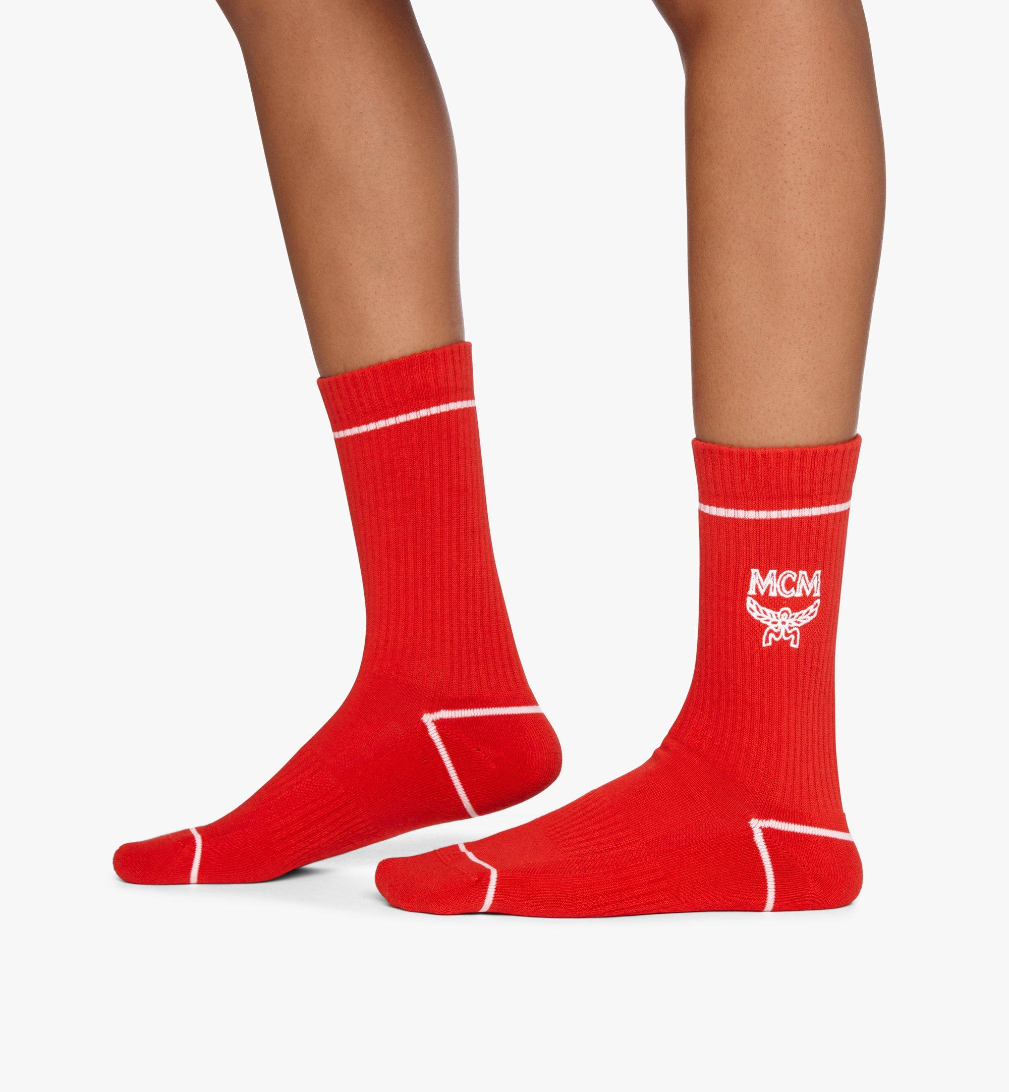 MCM Classic Logo Cotton Socks Red MEZASBM01RE0ML Alternate View 2