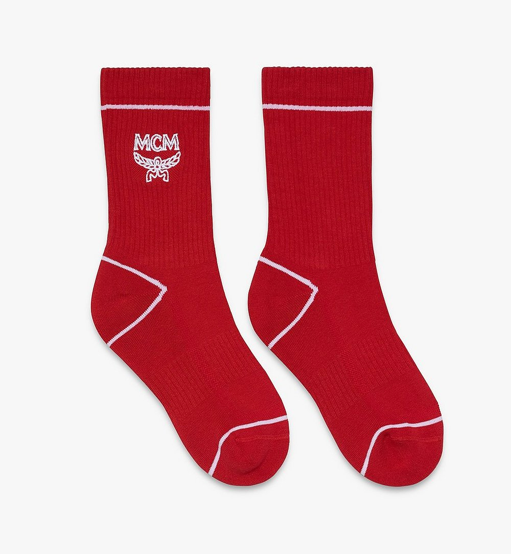 MCM Classic Logo Cotton Socks Red MEZASBM01RE0SM Alternate View 1
