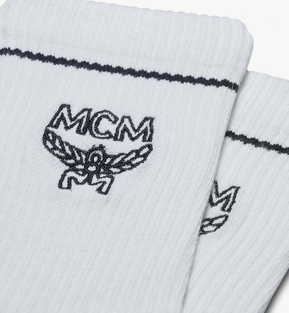 MCM Classic Logo Cotton Socks White MEZASBM01WT0SM Alternate View 1