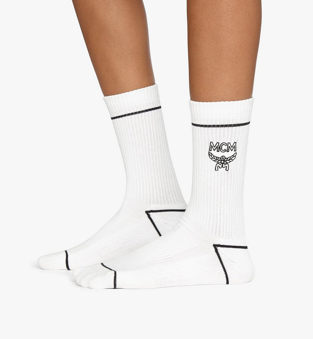 MCM Classic Logo Cotton Socks White MEZASBM01WT0SM Alternate View 2