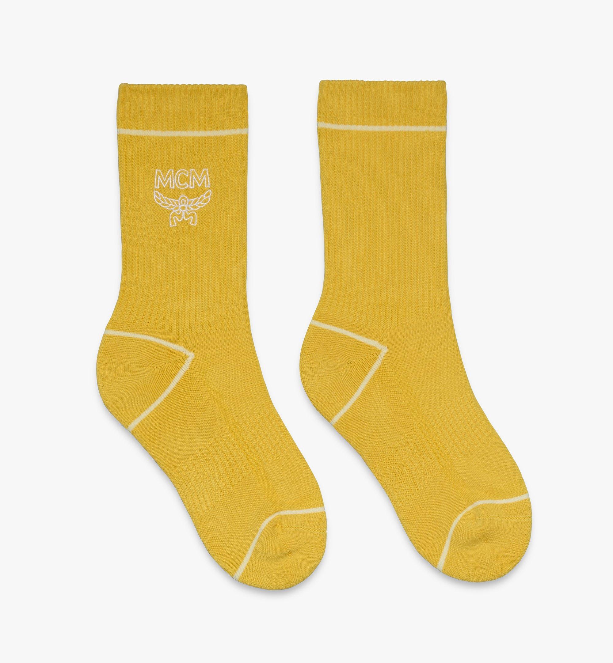 MCM Classic Logo Cotton Socks Yellow MEZASBM01YW0ML Alternate View 1
