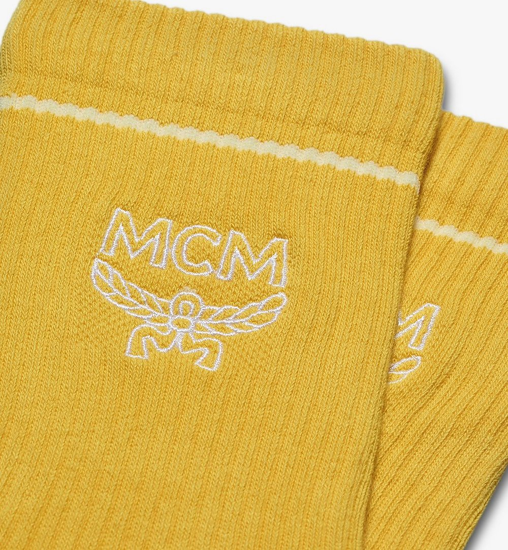 MCM Classic Logo Cotton Socks Yellow MEZASBM01YW0SM Alternate View 1