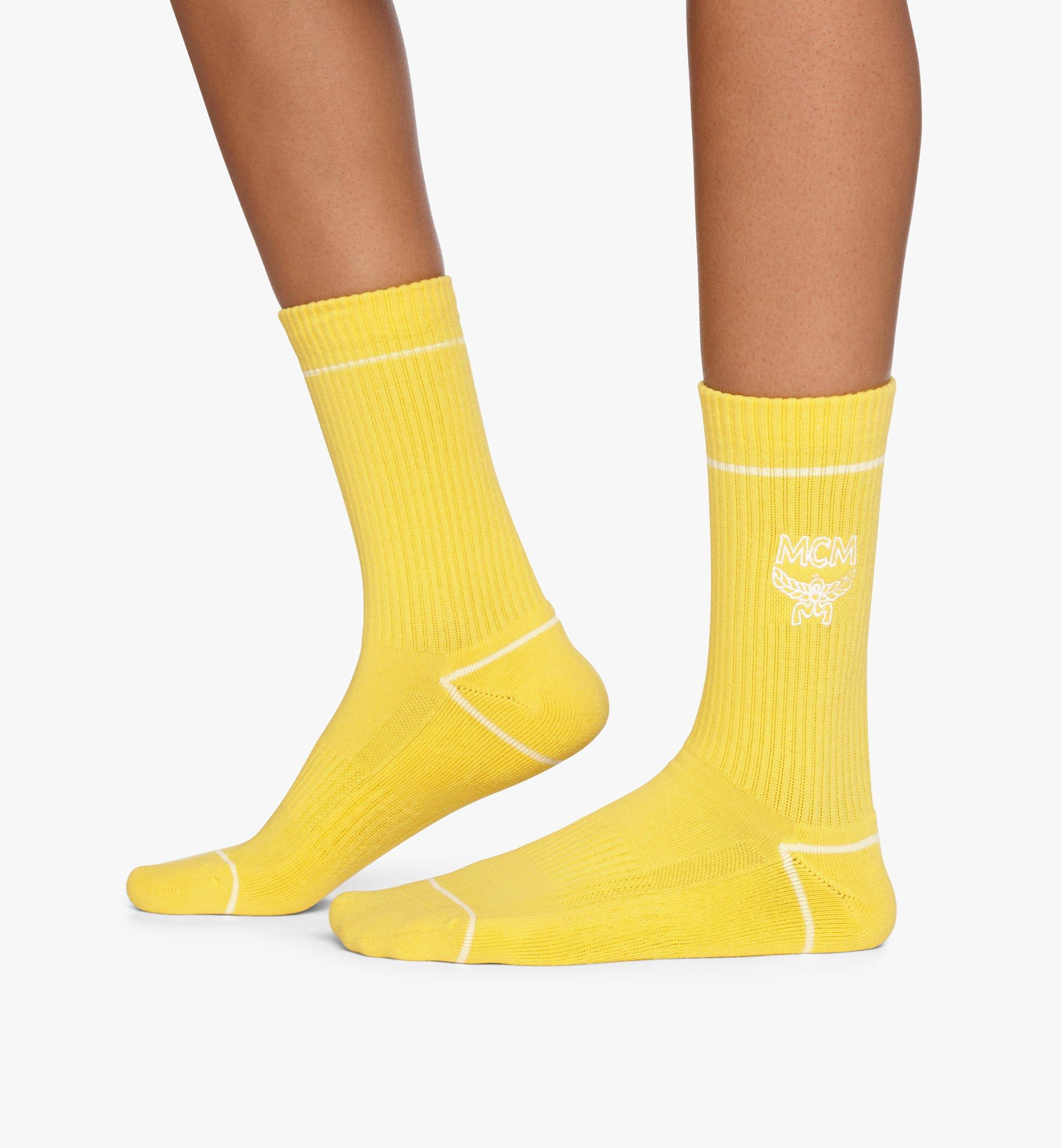 MCM Classic Logo Cotton Socks Yellow MEZASBM01YW0SM Alternate View 2
