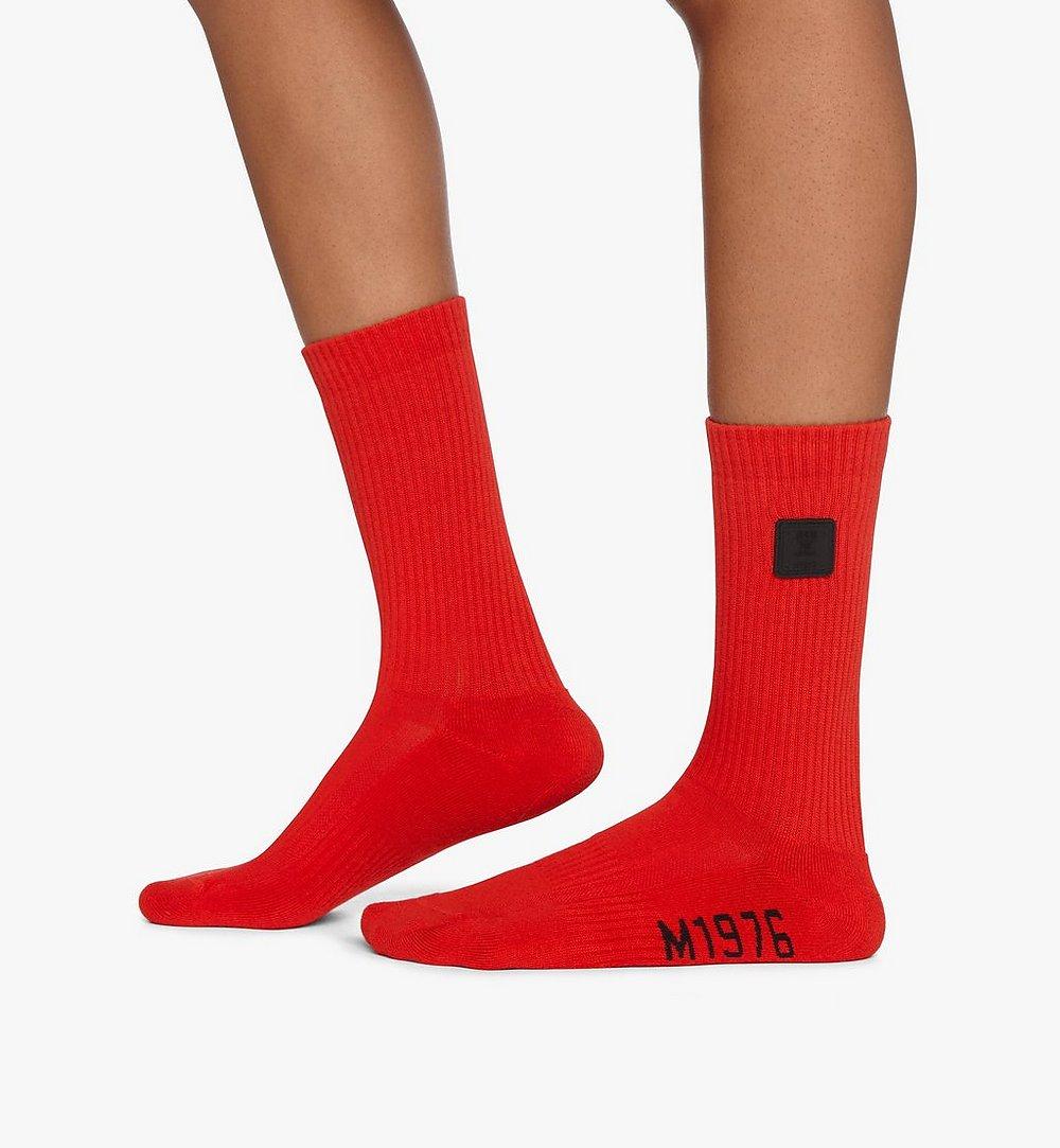 MCM 1976 Logo Plate Socks Red MEZASBM02RE0SM Alternate View 2