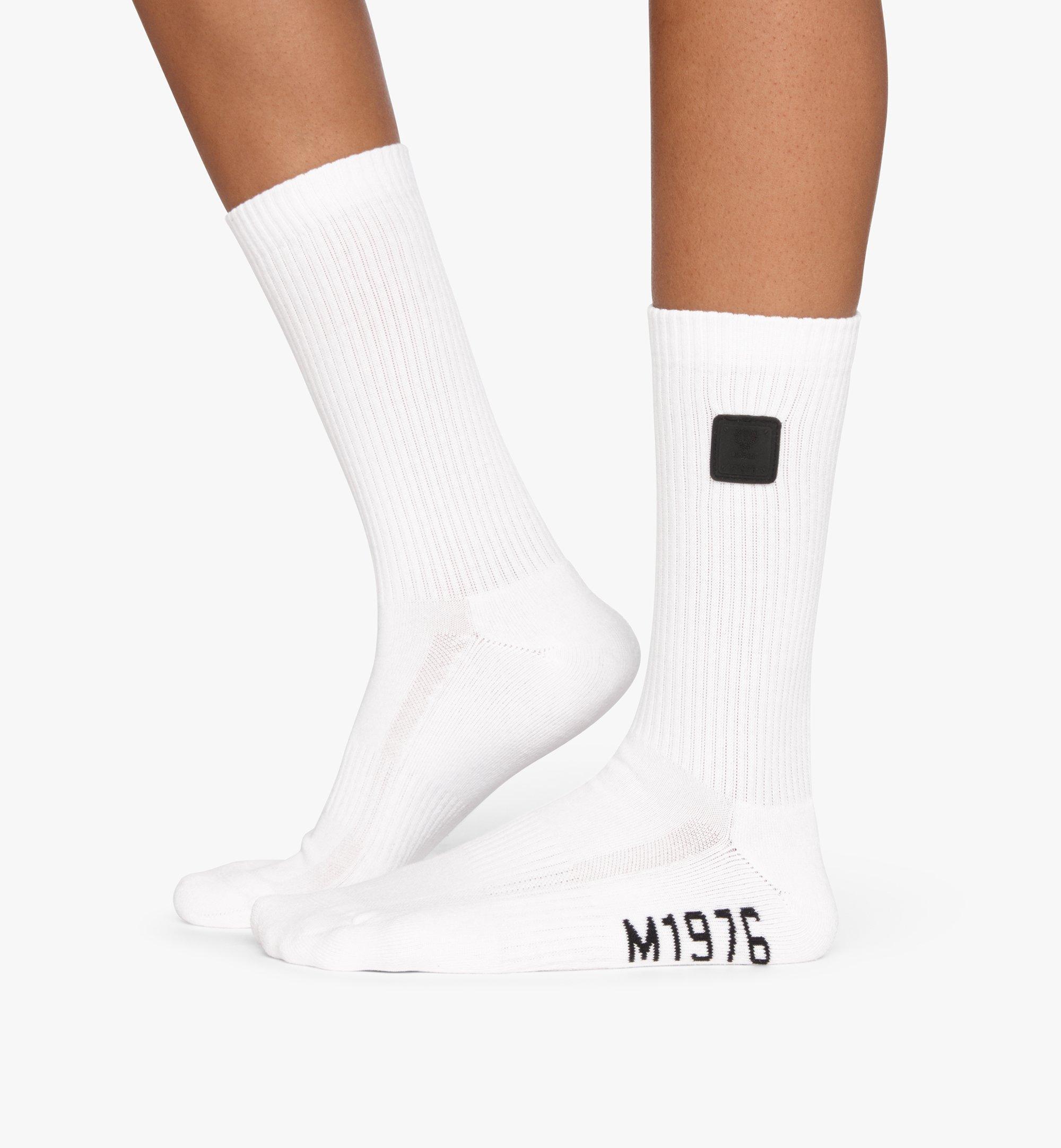 MCM 1976 logo 長筒襪 White MEZASBM02WT0SM 更多視圖 2