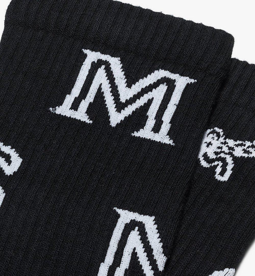 MCM Monogram Print Cotton Socks Black MEZASBM03BK0ML Alternate View 1