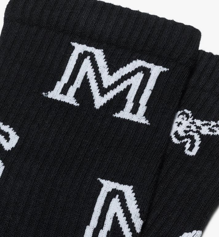 MCM Monogram Print Cotton Socks  MEZASBM03BK0ML Alternate View 2
