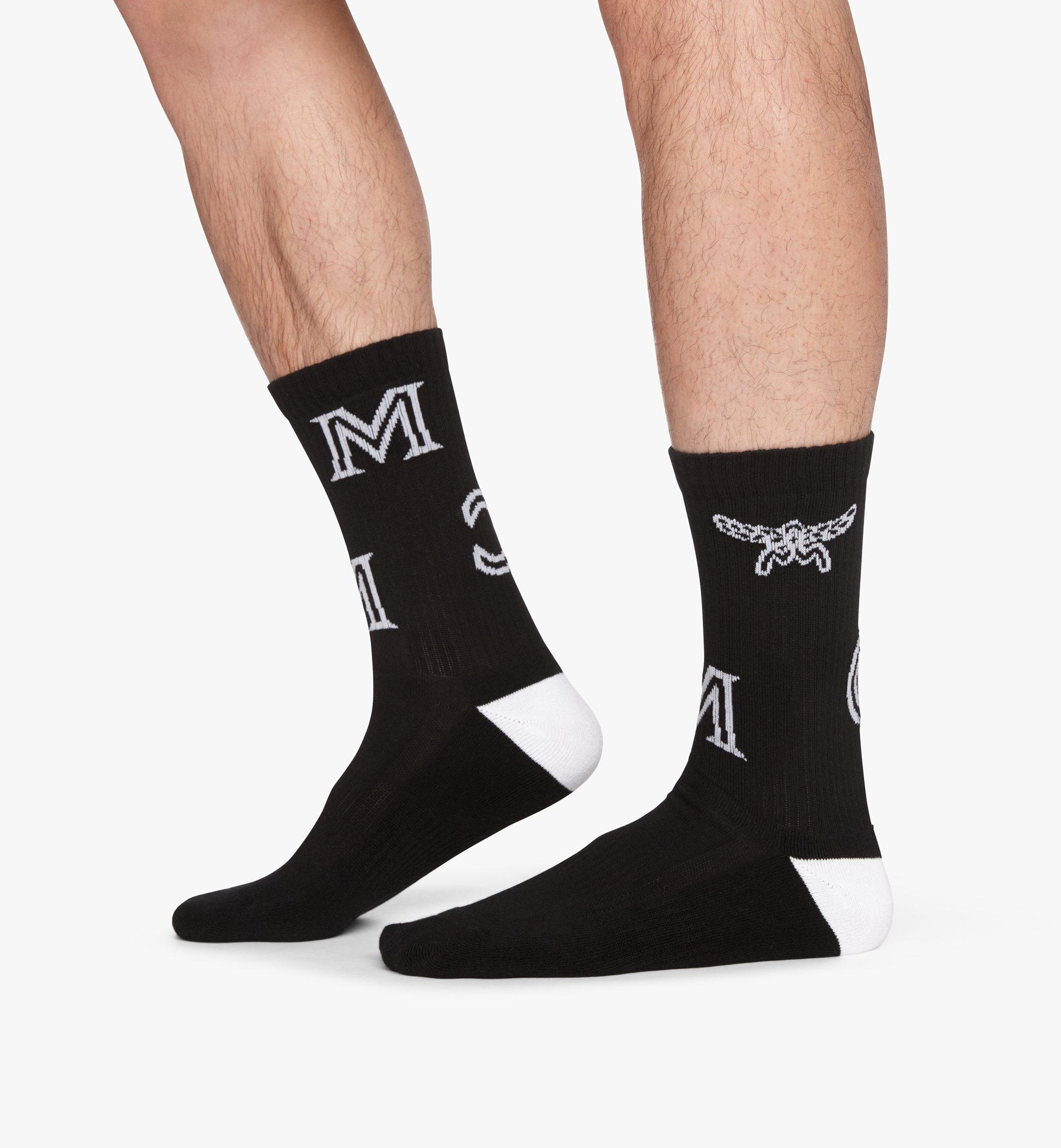 MCM Monogram Print Cotton Socks Black MEZASBM03BK0ML Alternate View 2