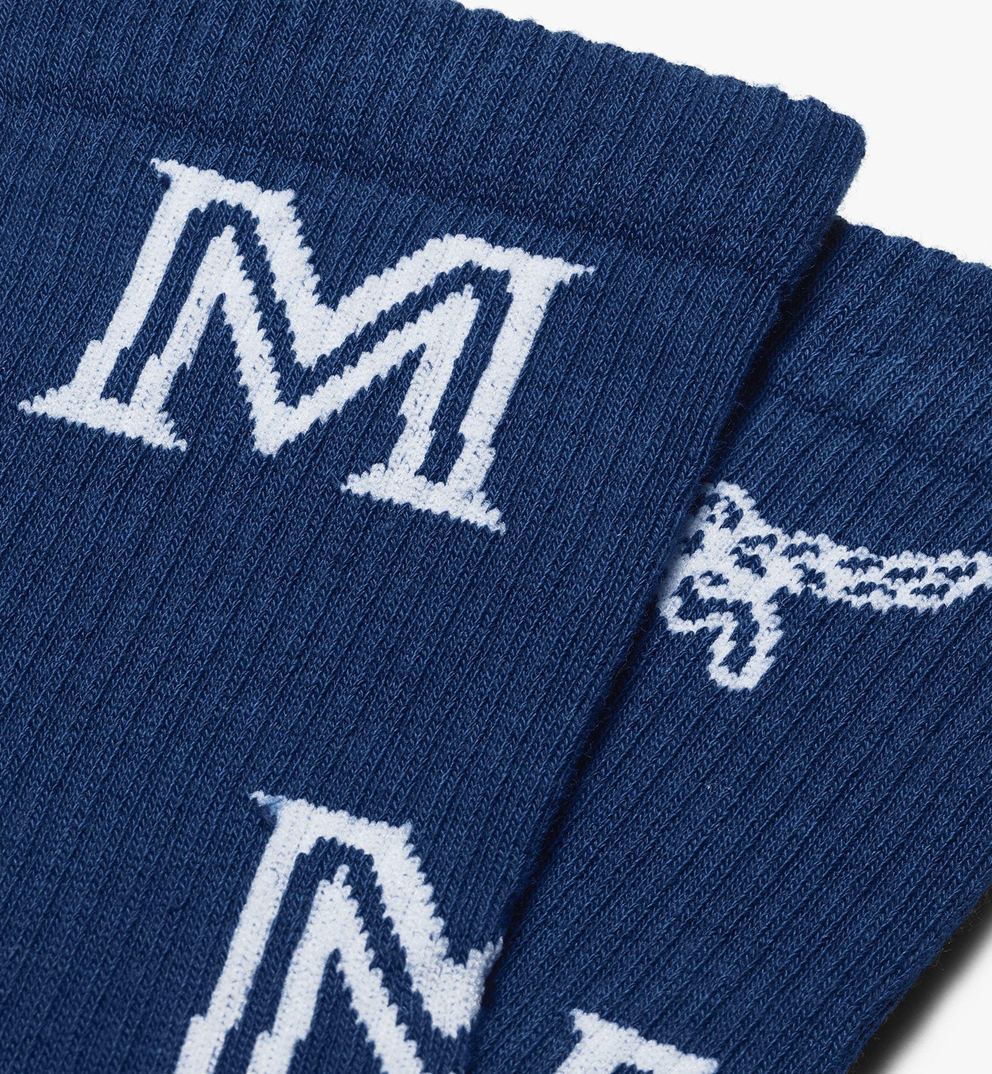 MCM Monogram Print Cotton Socks Blue MEZASBM03LU0ML Alternate View 1