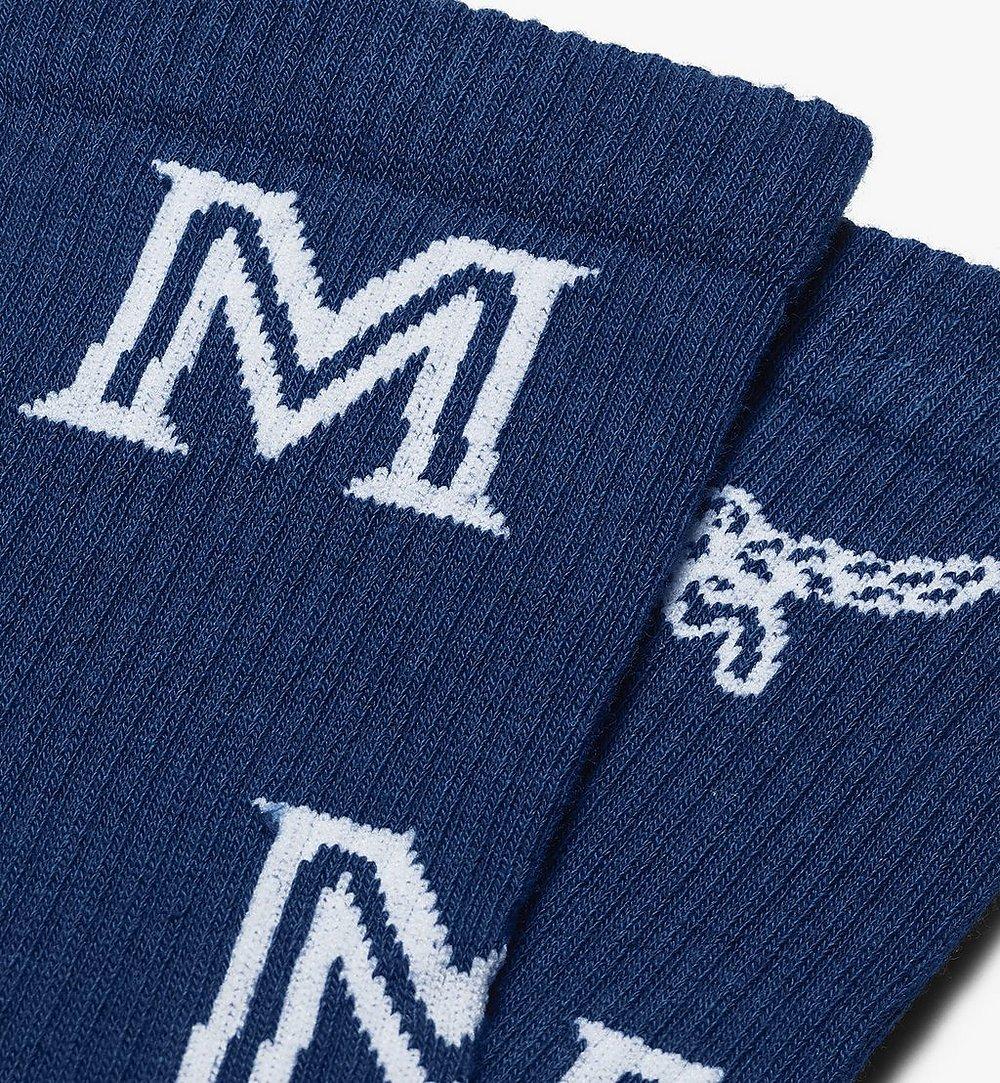 MCM Monogram Print Cotton Socks Blue MEZASBM03LU0SM Alternate View 1