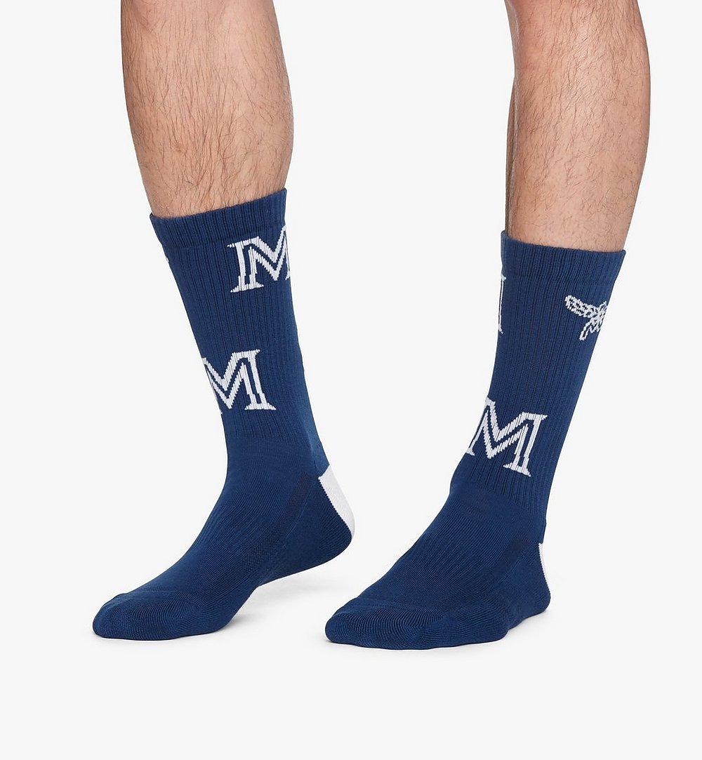 MCM Monogram Print Cotton Socks Blue MEZASBM03LU0SM Alternate View 2