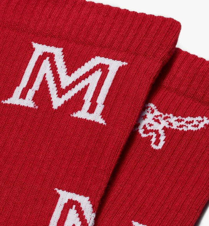 MCM Chaussettes classiques en coton à imprimé logo  MEZASBM03RE0SM Alternate View 2