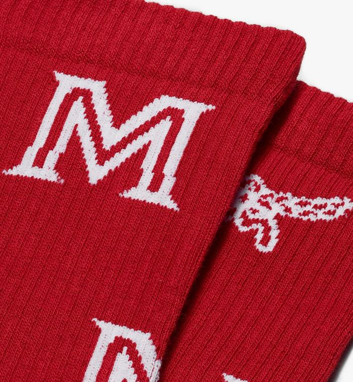 MCM Monogram Print Cotton Socks  MEZASBM03RE0SM Alternate View 2