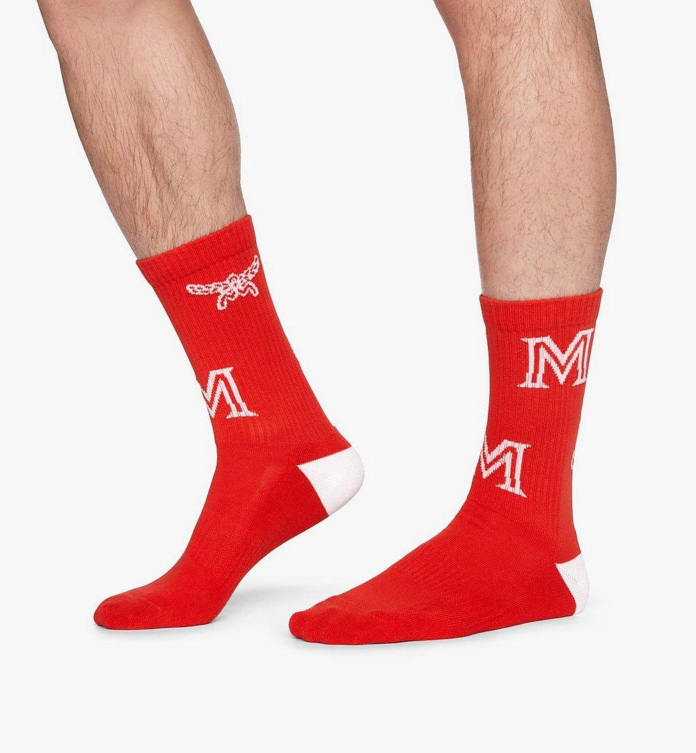 MCM Monogram Print Cotton Socks Red MEZASBM03RE0SM Alternate View 2