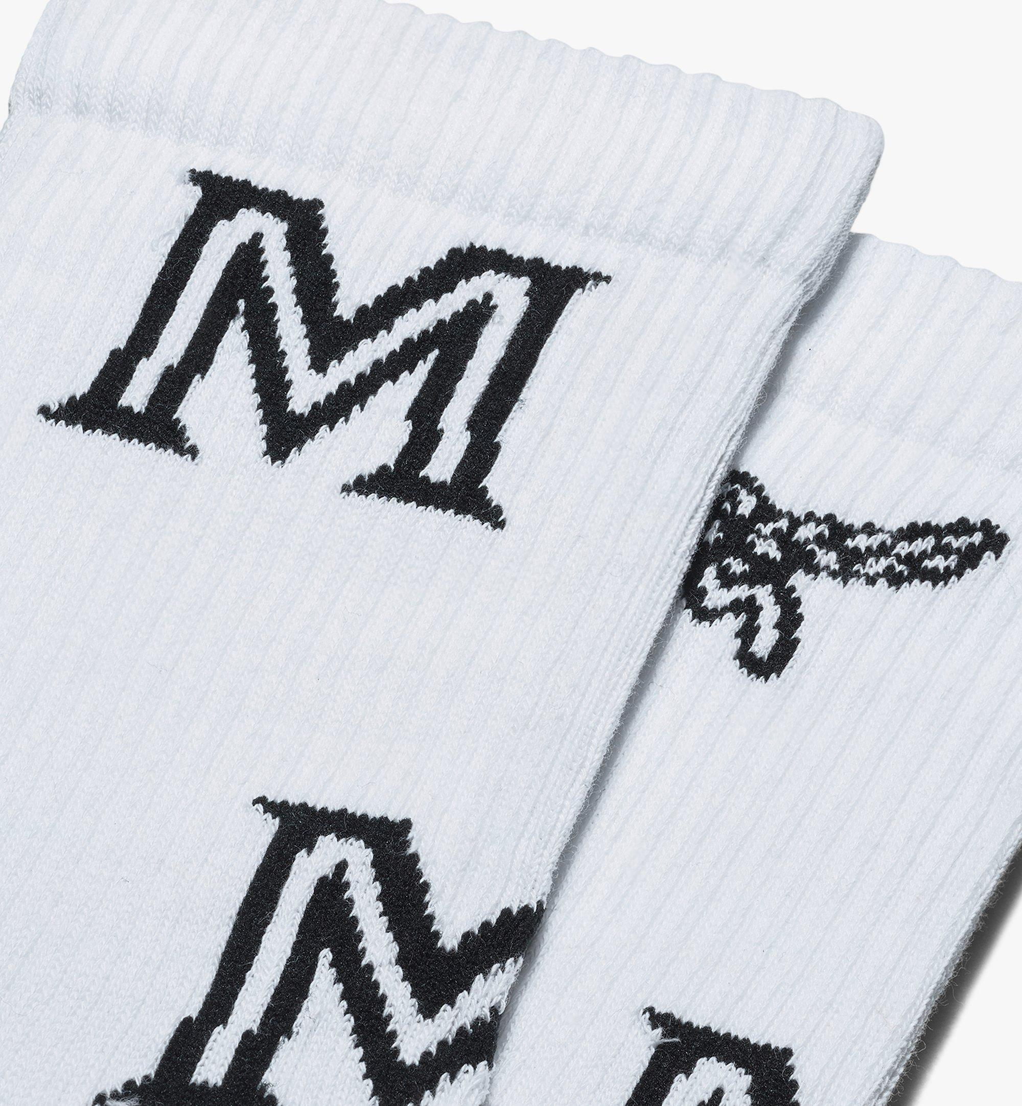 MCM Monogram Print Cotton Socks White MEZASBM03WT0ML Alternate View 1