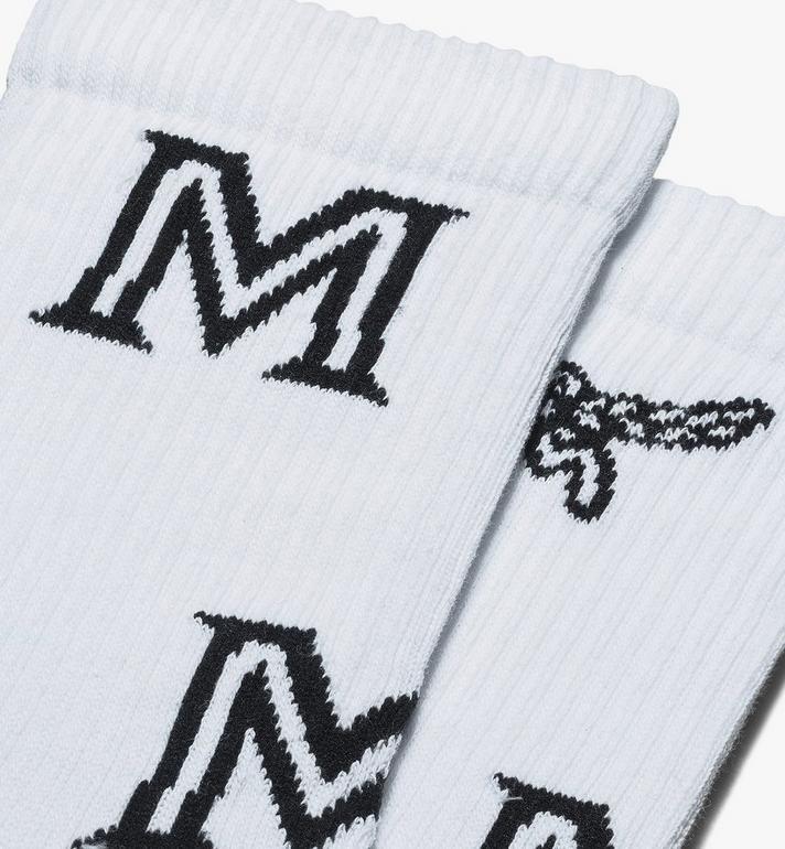 MCM Klassische Baumwollsocken mit Logo  MEZASBM03WT0ML Alternate View 2