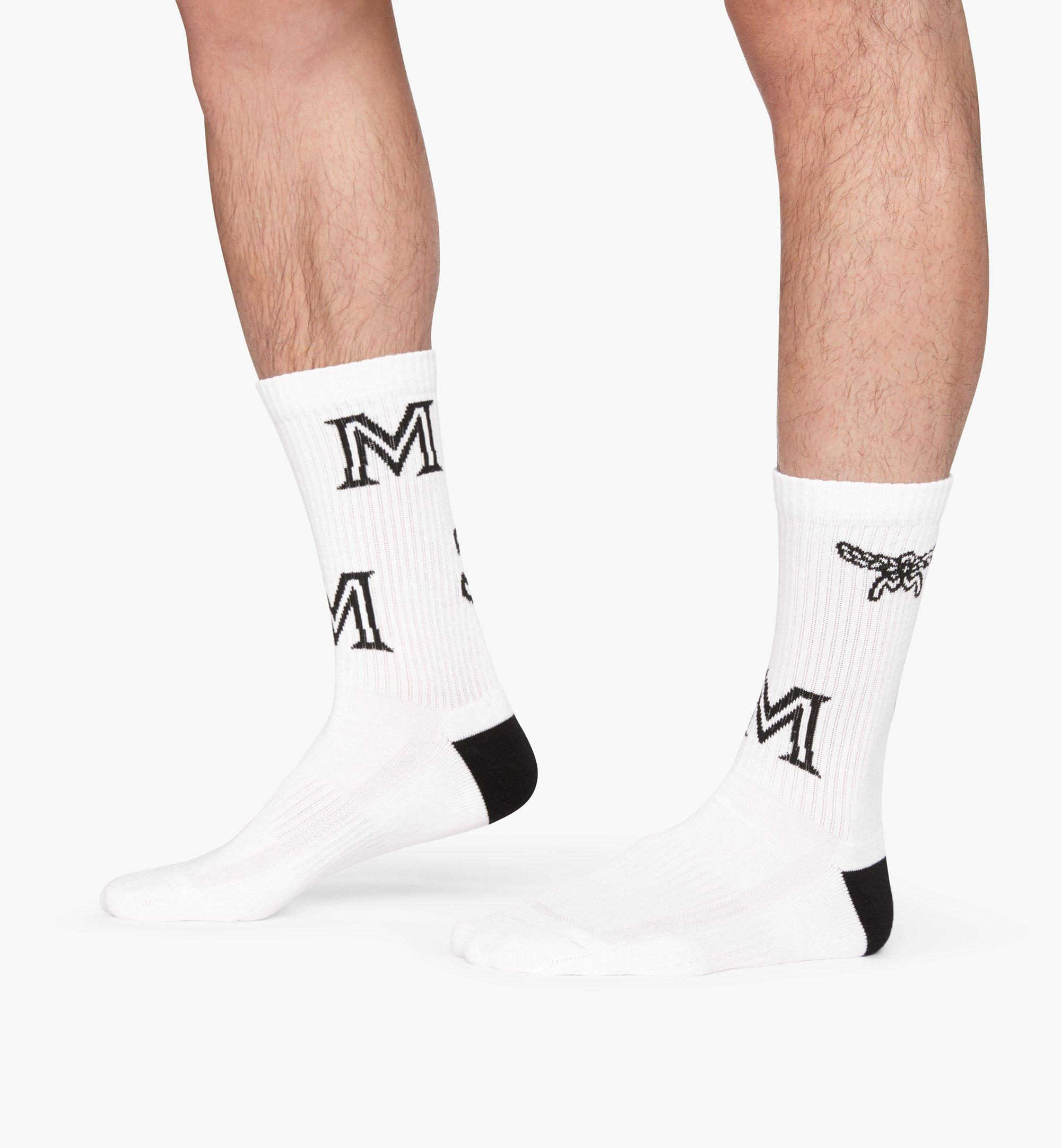 MCM Monogram Print Cotton Socks  MEZASBM03WT0ML Alternate View 4