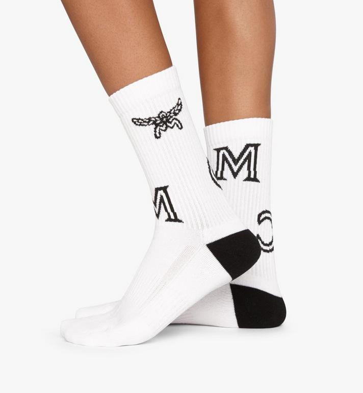 MCM Monogram Print Cotton Socks White MEZASBM03WT0SM Alternate View 3