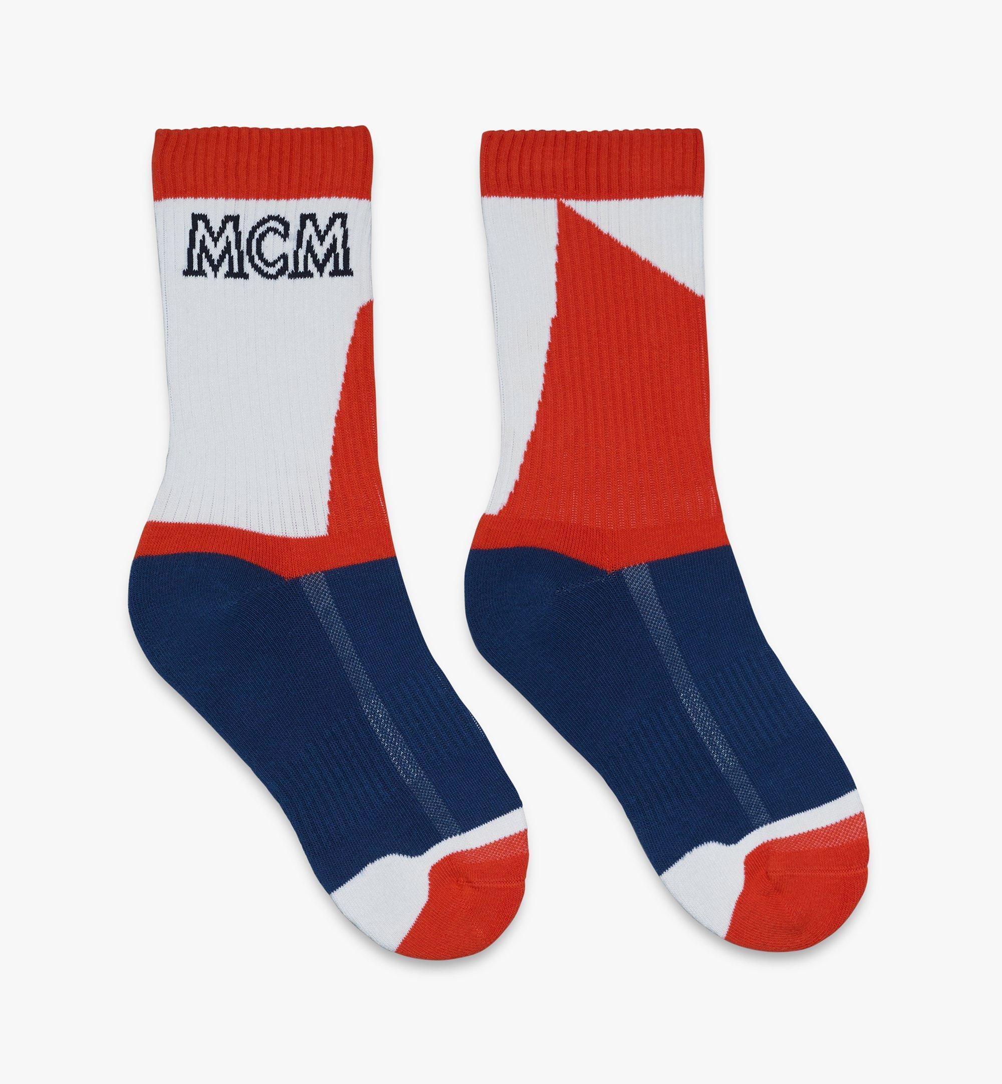 MCM Colorblock Cotton Socks Blue MEZASBM04LU0ML Alternate View 1