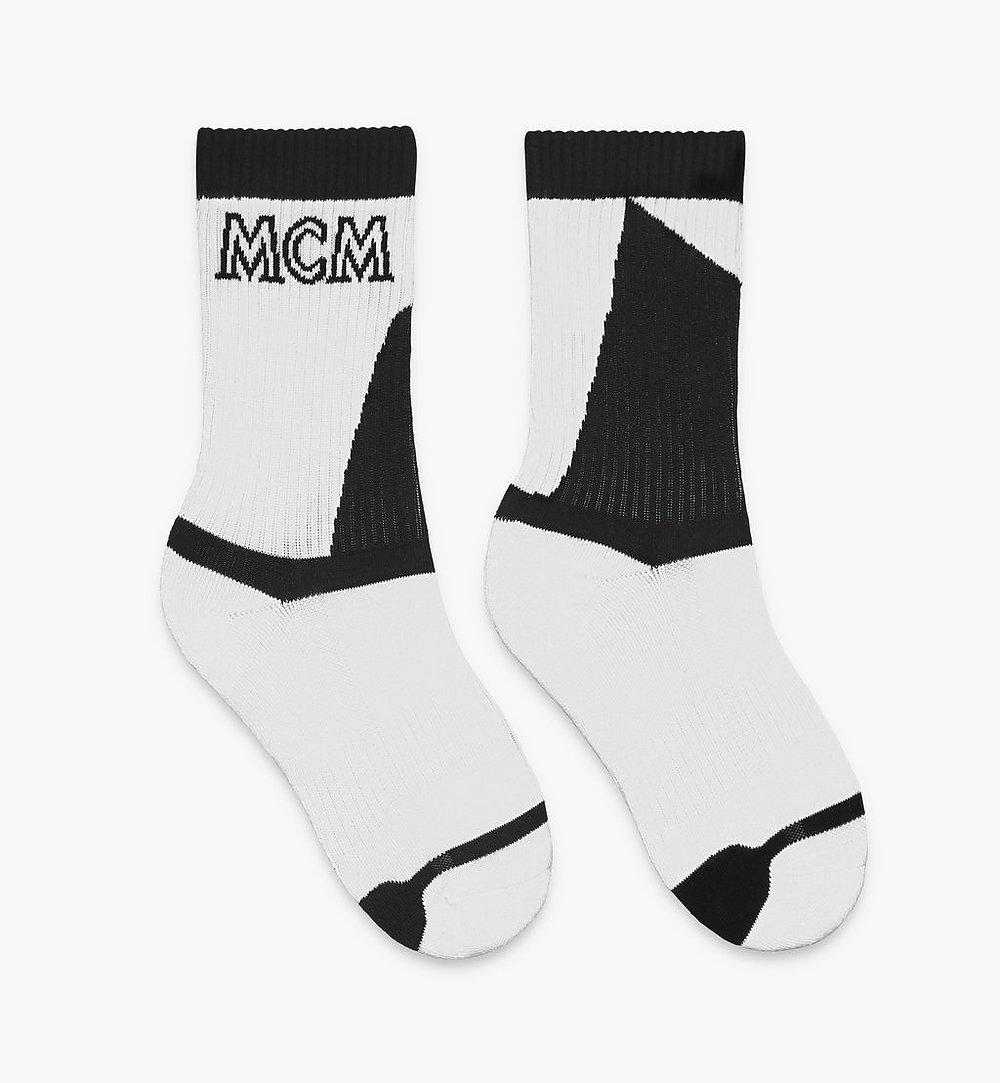MCM Colorblock Cotton Socks White MEZASBM04WT0SM Alternate View 1