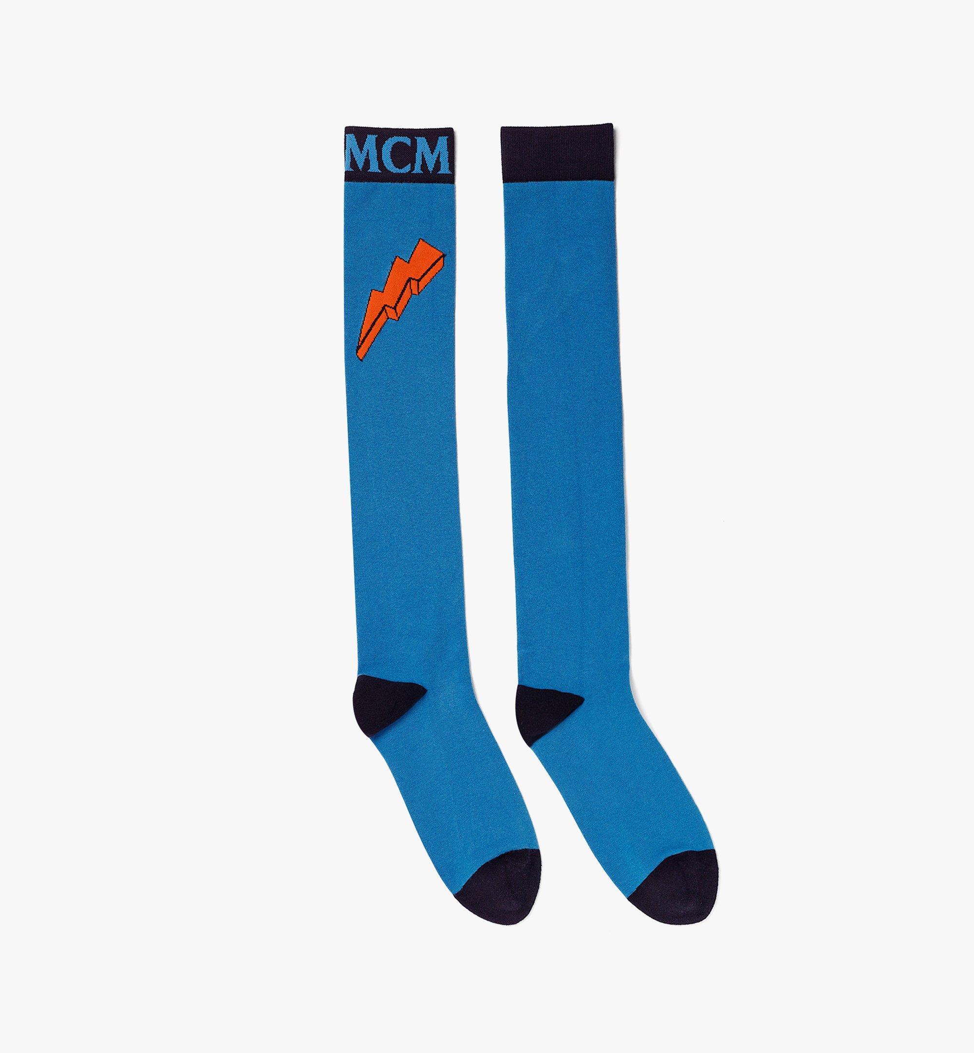 MCM Intarsia Knit Logo Knee-High Socks Blue MEZBAMM02H90SM Alternate View 1