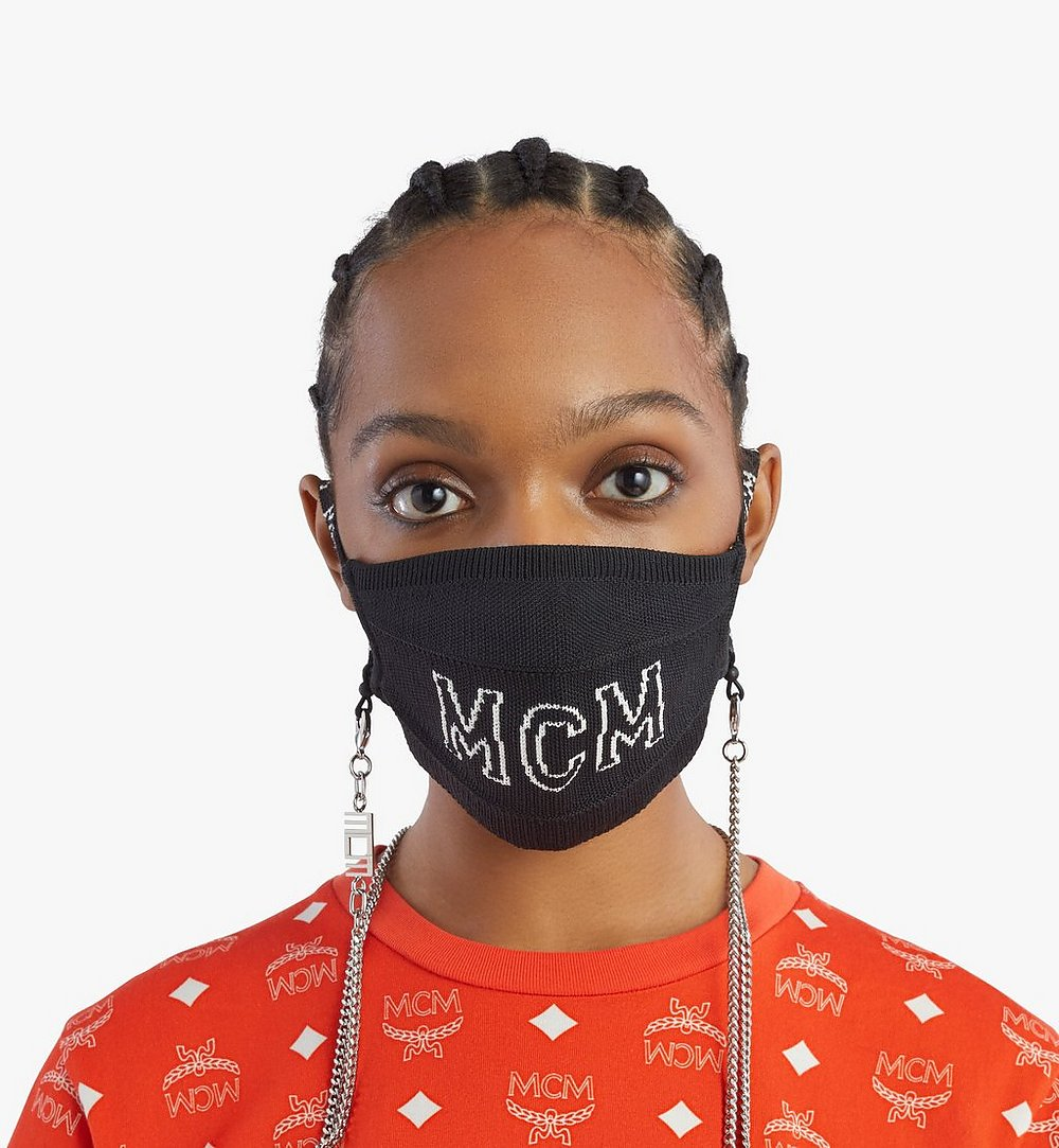 MCM Logo Knit Face Accessory with Chain Black MEZBSMM07BK001 Alternate View 3