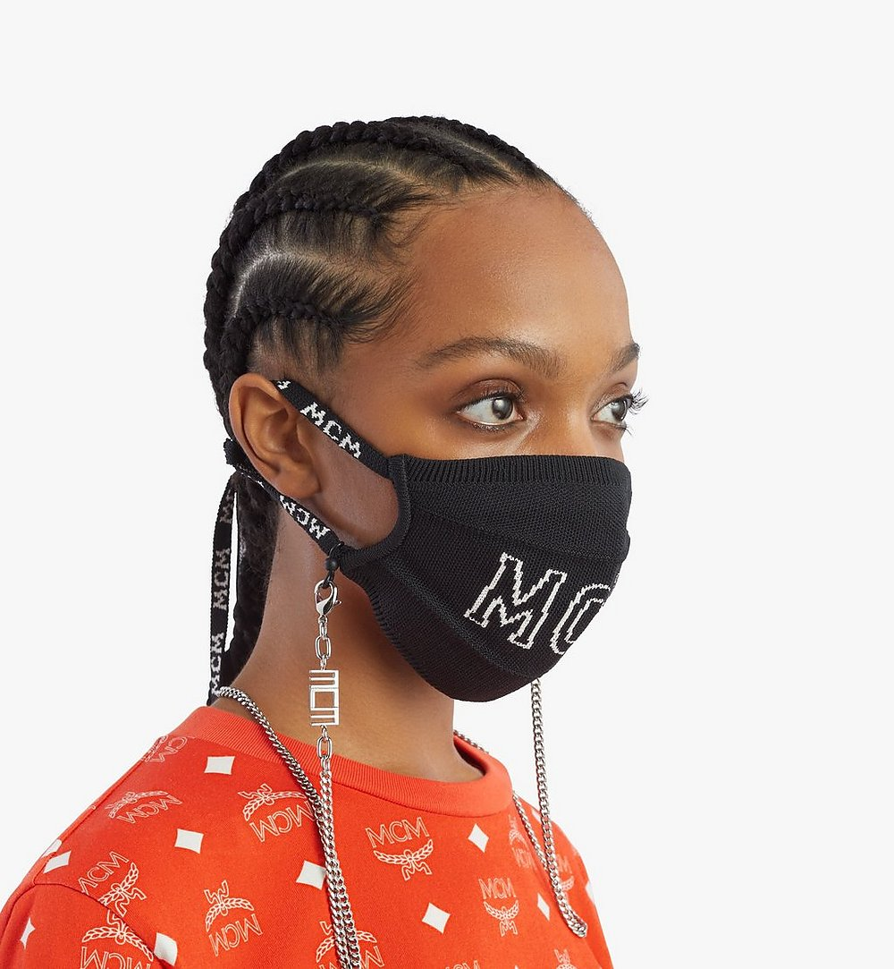 MCM Logo Knit Face Accessory with Chain Black MEZBSMM07BK001 Alternate View 4