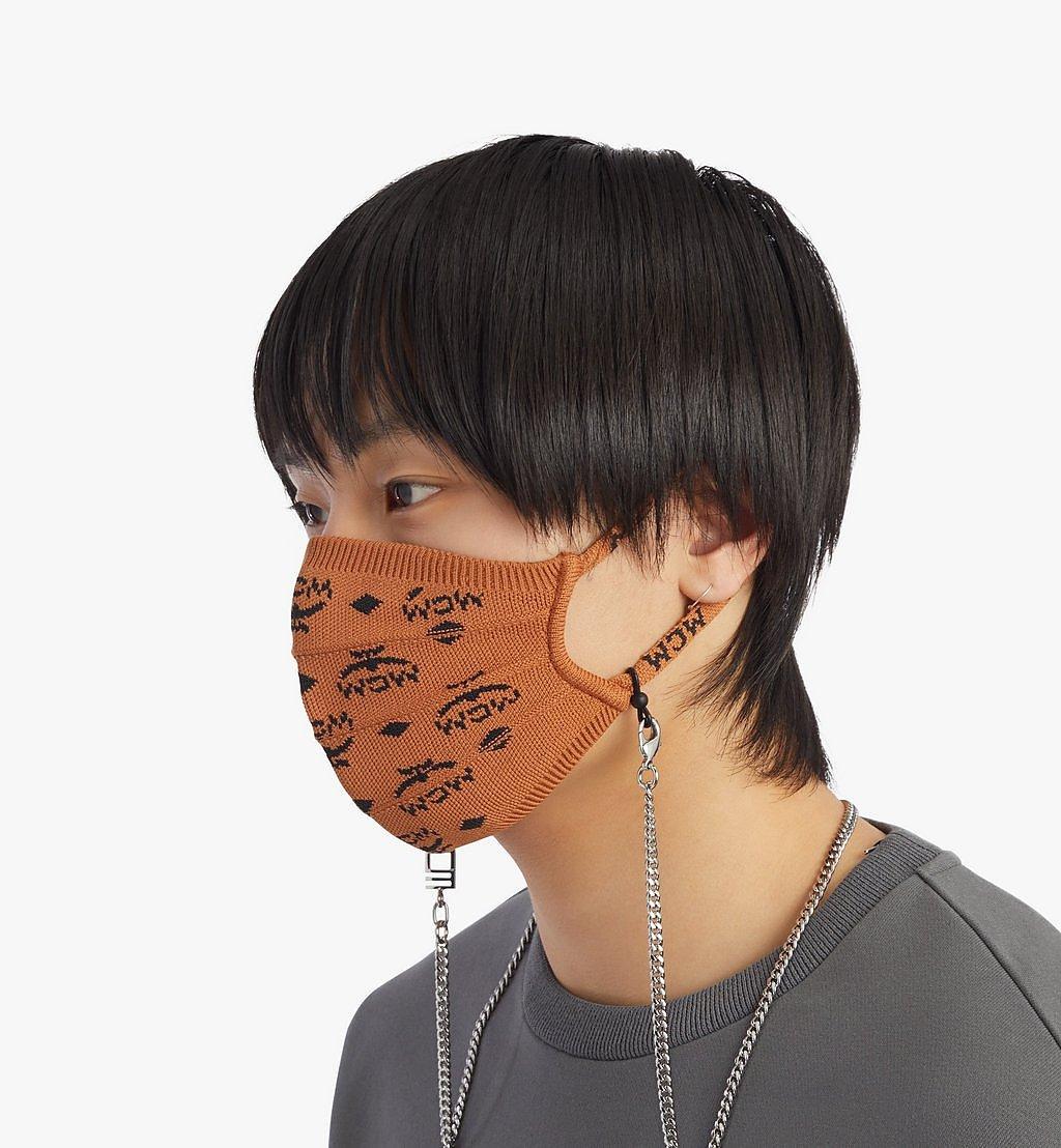 MCM Monogram Knit Face Accessory with Chain Cognac MEZBSMM07CO001 Alternate View 2