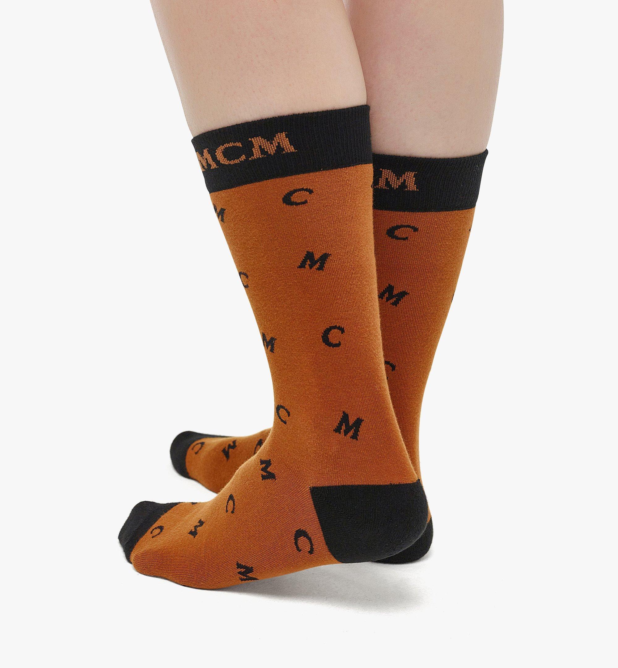 MCM MCM 花押字圖案嵌花編織襪 Cognac MEZBSMM09CO0ML 更多視圖 2
