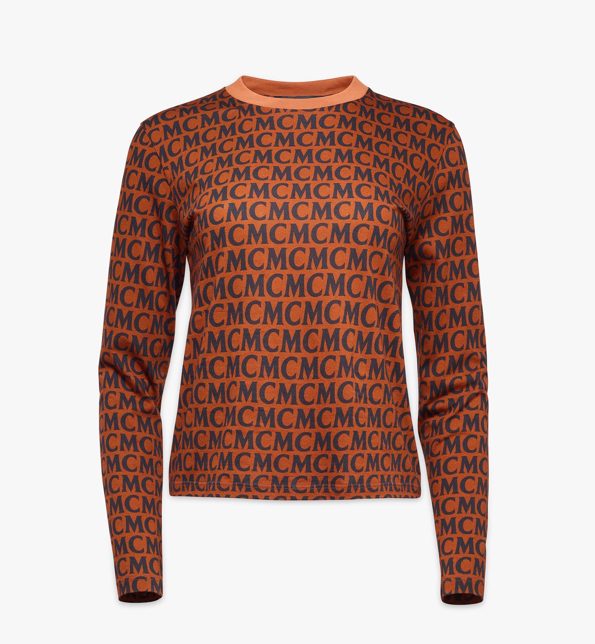 MCM Women's Monogram Long Sleeve T-Shirt Cognac MFAAAMD01C400L Alternate View 1