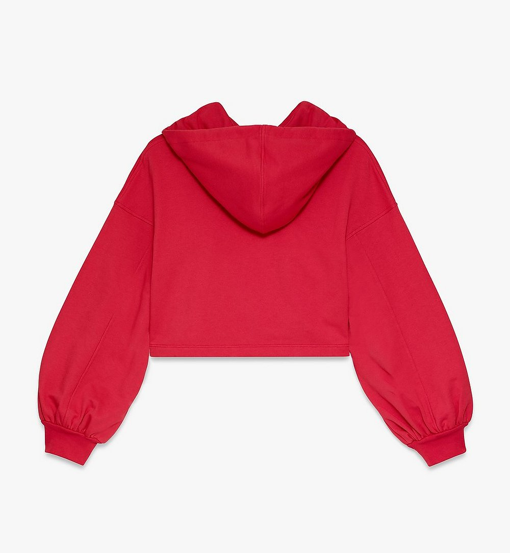 MCM Women's Logo Hoodie Red MFAASMM04R400L Alternate View 1