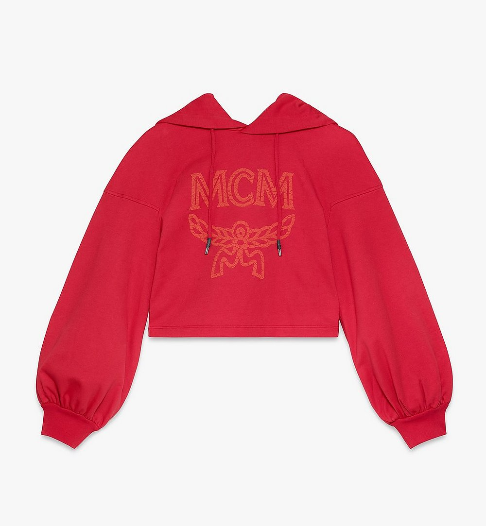MCM Women's Logo Hoodie Red MFAASMM04R400S Alternate View 1