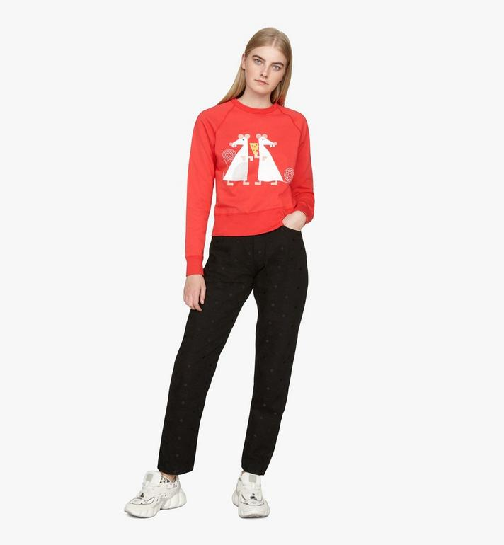 MCM Women's Year Of The Mouse Crewneck Sweatshirt Red MFAASSE03R400M Alternate View 3