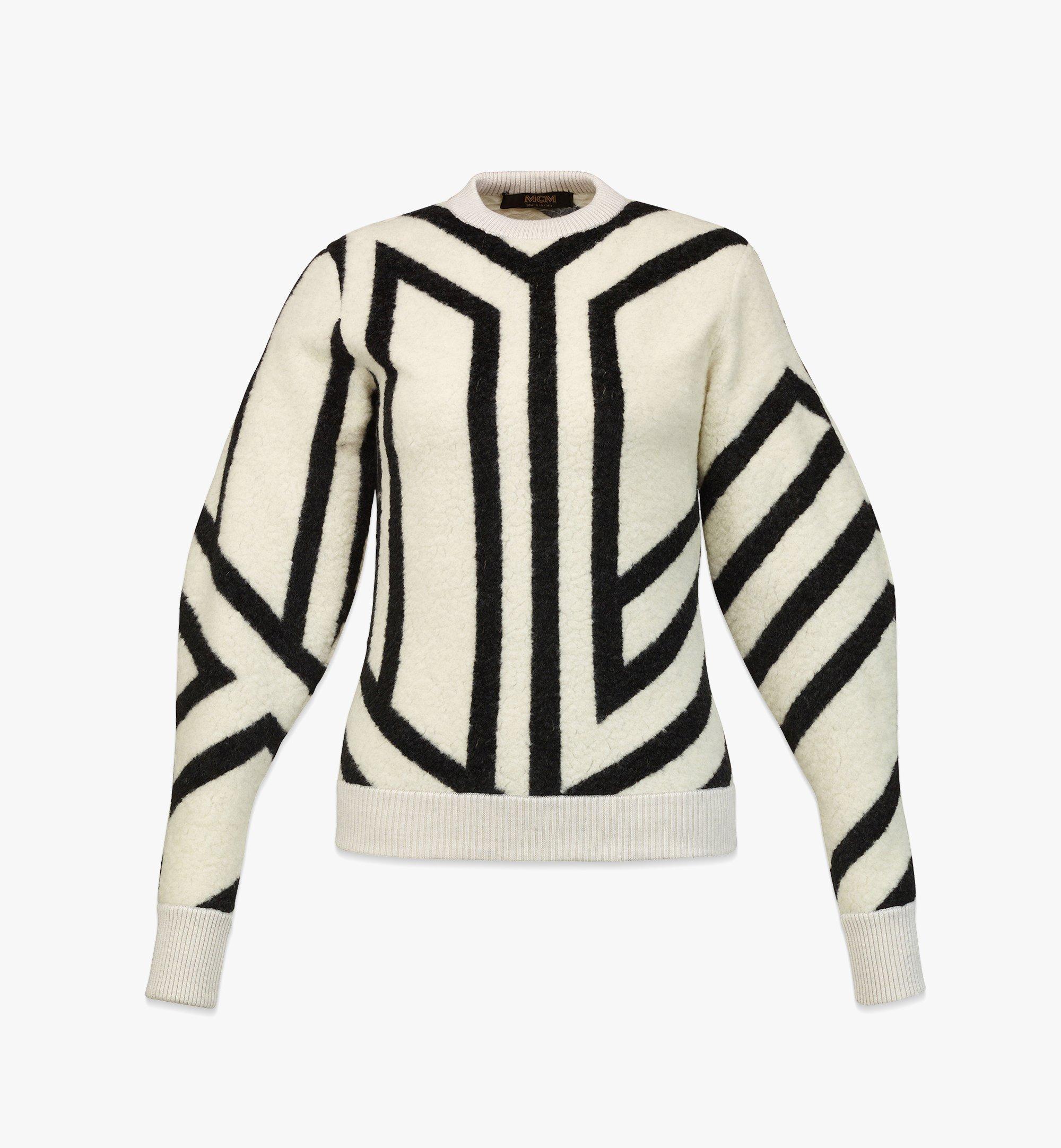 MCM Sweatshirt aus Wolle mit Cubic-Monogramm für Damen White MFABAMM02W700M Noch mehr sehen 1