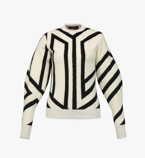 Sweatshirt aus Wolle mit Cubic-Monogramm für Damen