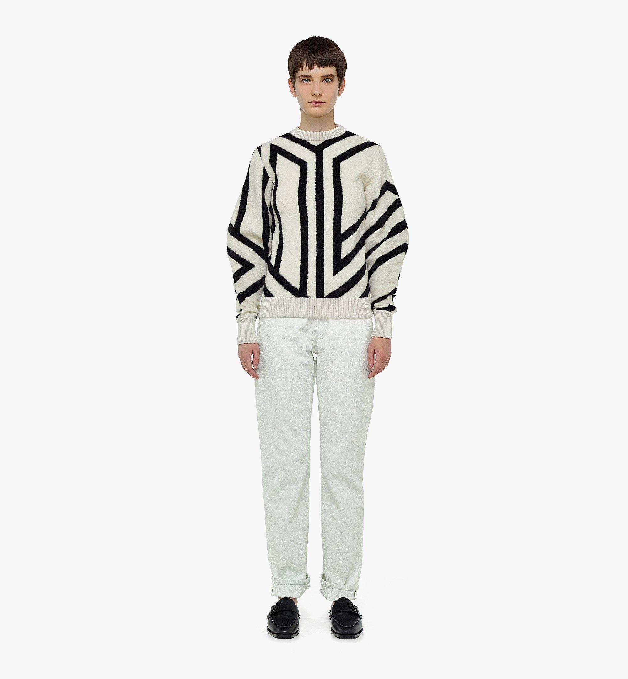 MCM Sweatshirt aus Wolle mit Cubic-Monogramm für Damen White MFABAMM02W700M Noch mehr sehen 3