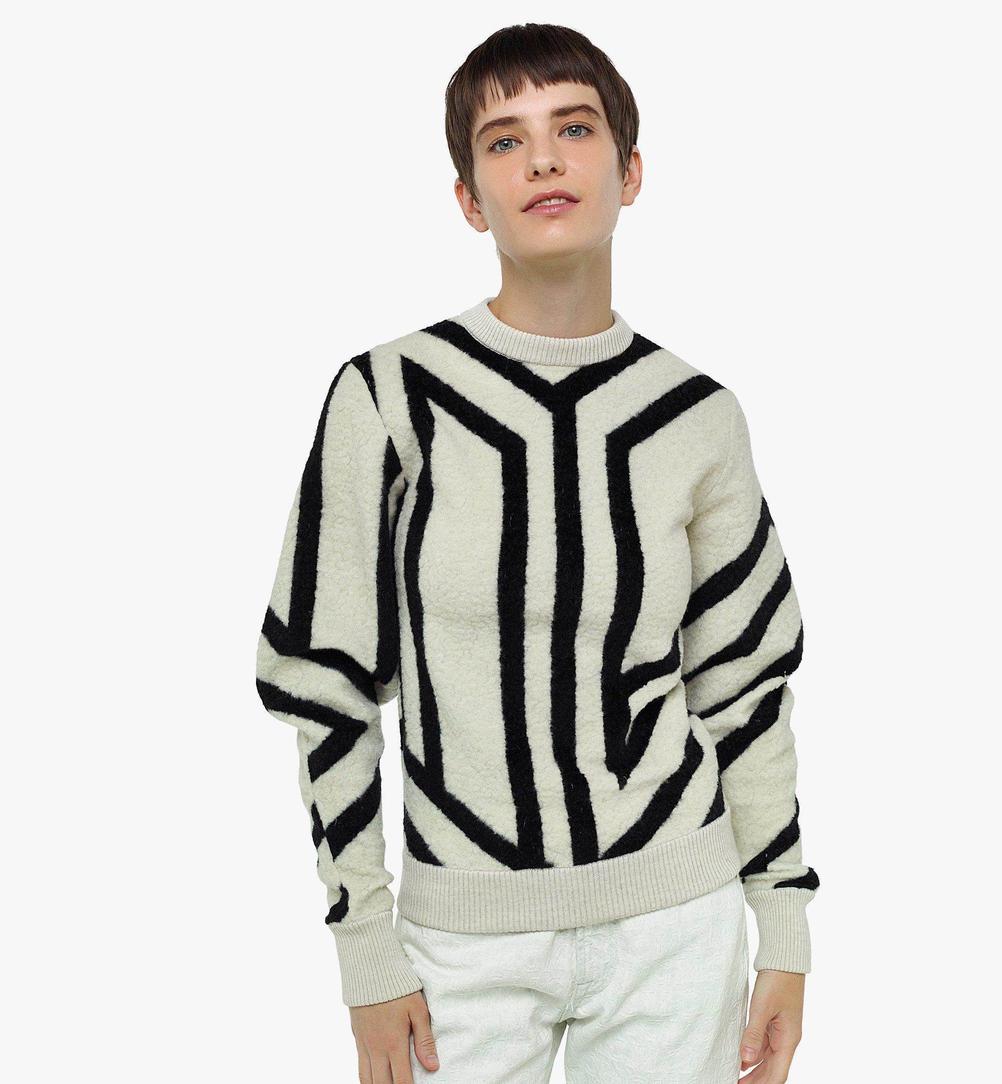 MCM Sweatshirt aus Wolle mit Cubic-Monogramm für Damen White MFABAMM02W700M Noch mehr sehen 2
