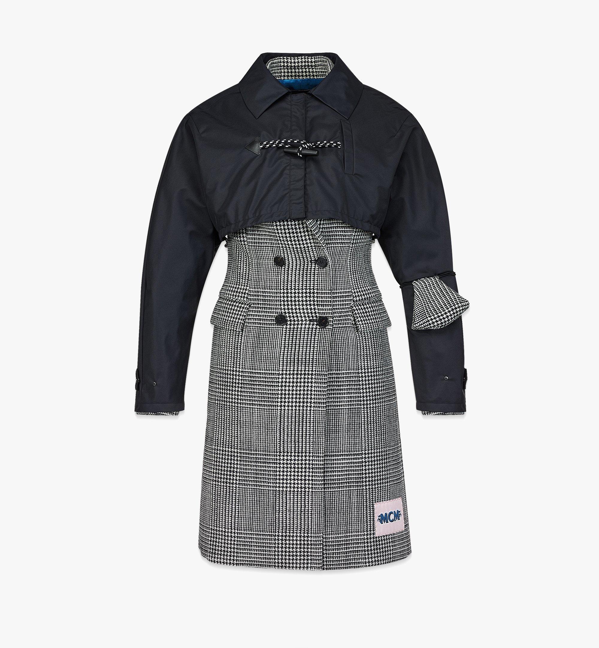 MCM Women's Check Wool Coat with Nylon Overlay Black MFCBAMM01BK038 Alternate View 1