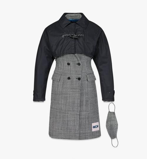 Wollmantel mit Karomuster und Nylon-Cape für Damen