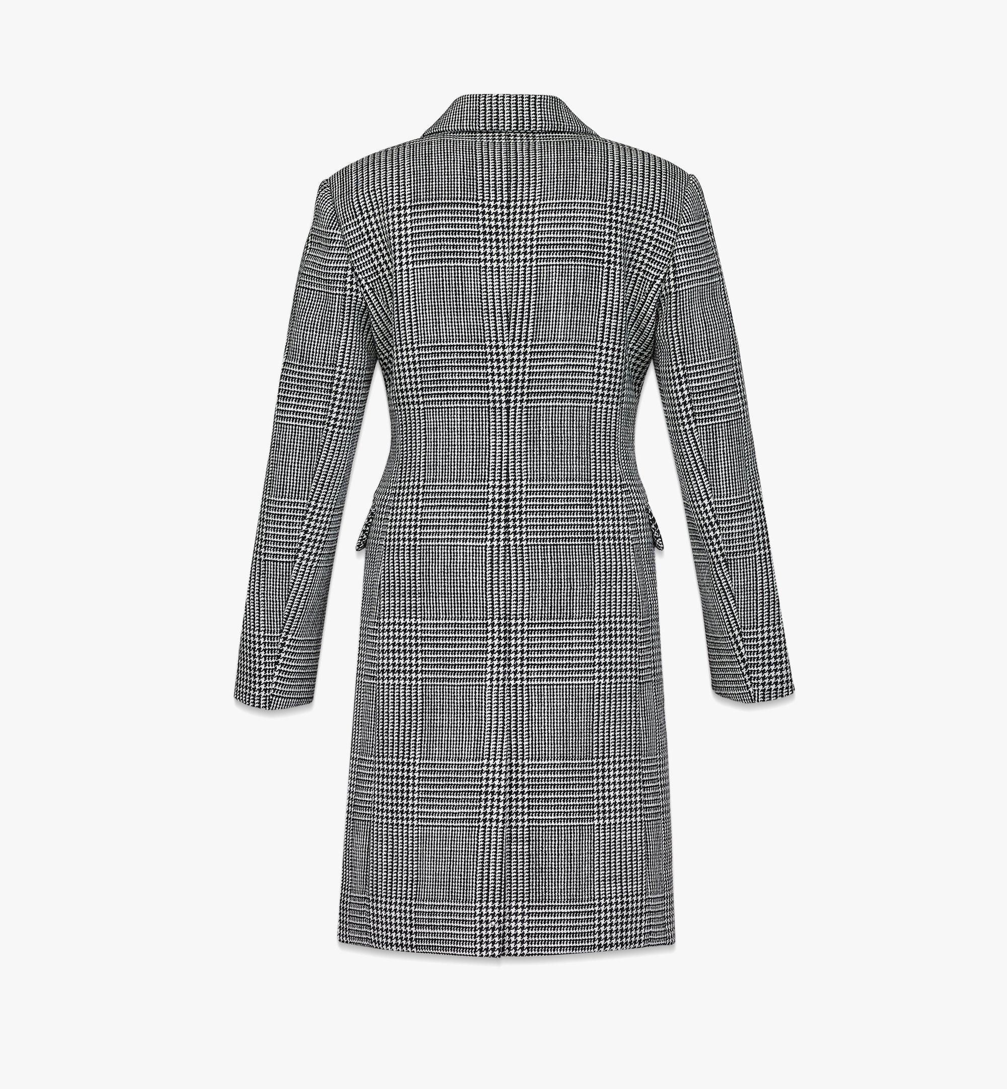 MCM Manteau en laine à carreaux avec empiècement en nylon pour femme Black MFCBAMM01BK040 Plus de photos 4