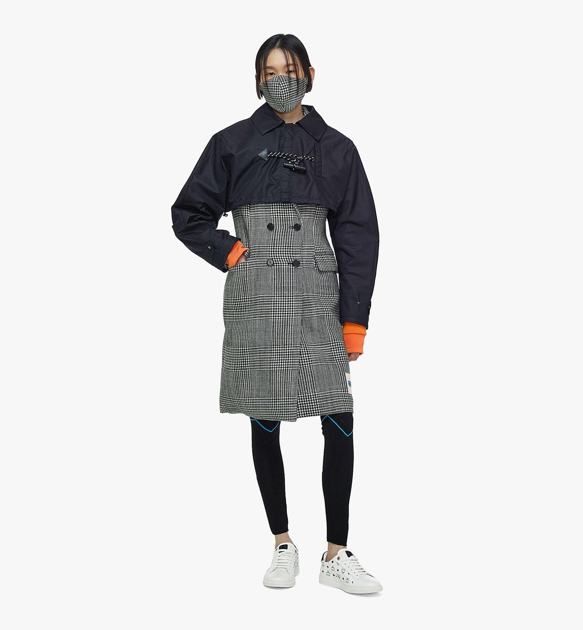 MCM Manteau en laine à carreaux avec empiècement en nylon pour femme Black MFCBAMM01BK040 Plus de photos 3