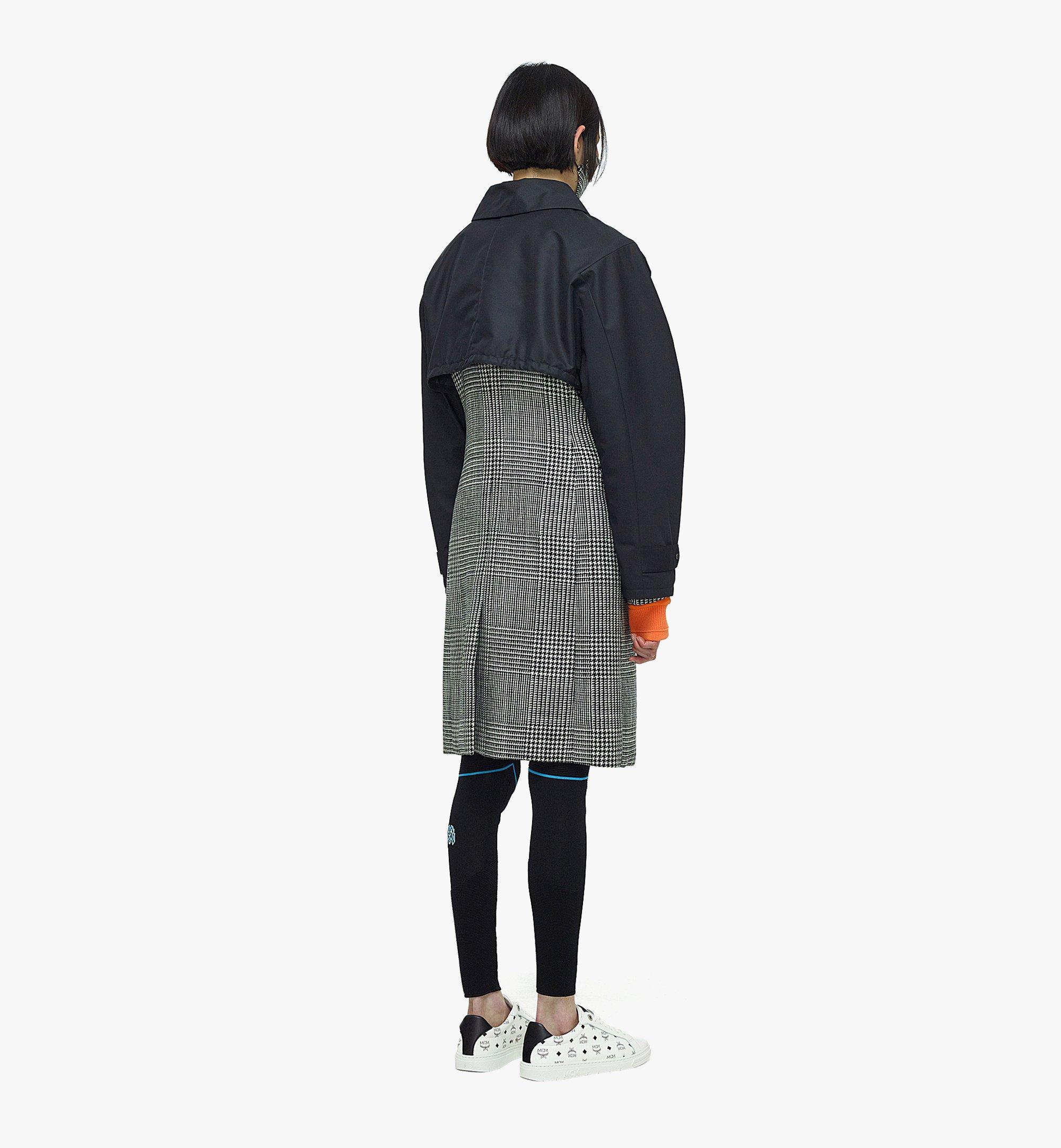 MCM Manteau en laine à carreaux avec empiècement en nylon pour femme Black MFCBAMM01BK040 Plus de photos 5