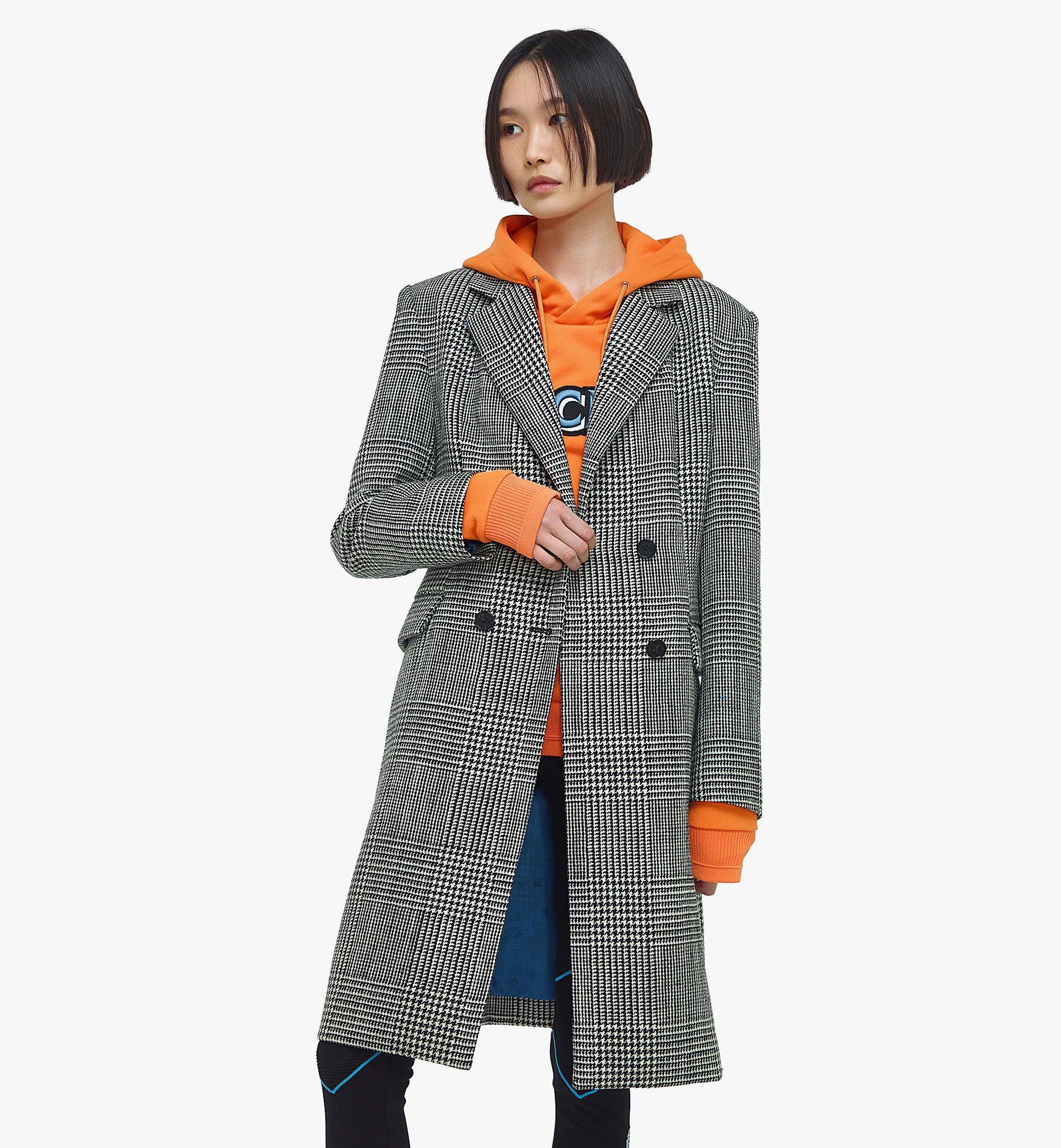 MCM Manteau en laine à carreaux avec empiècement en nylon pour femme Black MFCBAMM01BK040 Plus de photos 6