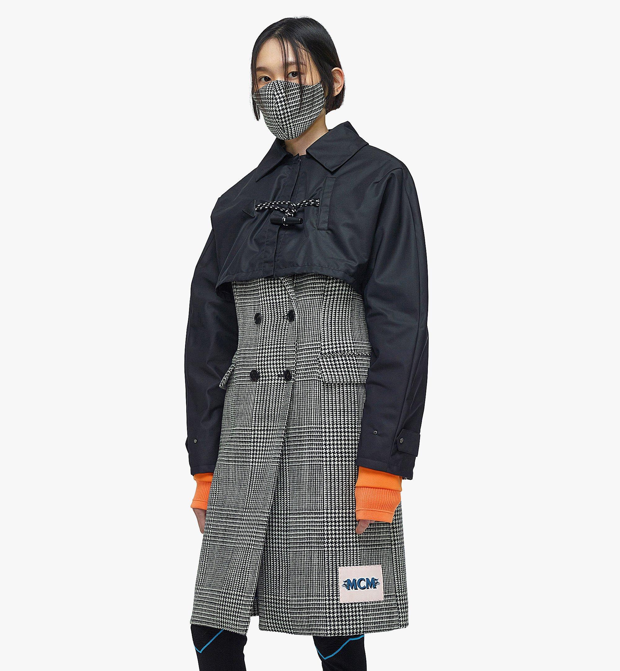 MCM Manteau en laine à carreaux avec empiècement en nylon pour femme Black MFCBAMM01BK040 Plus de photos 2