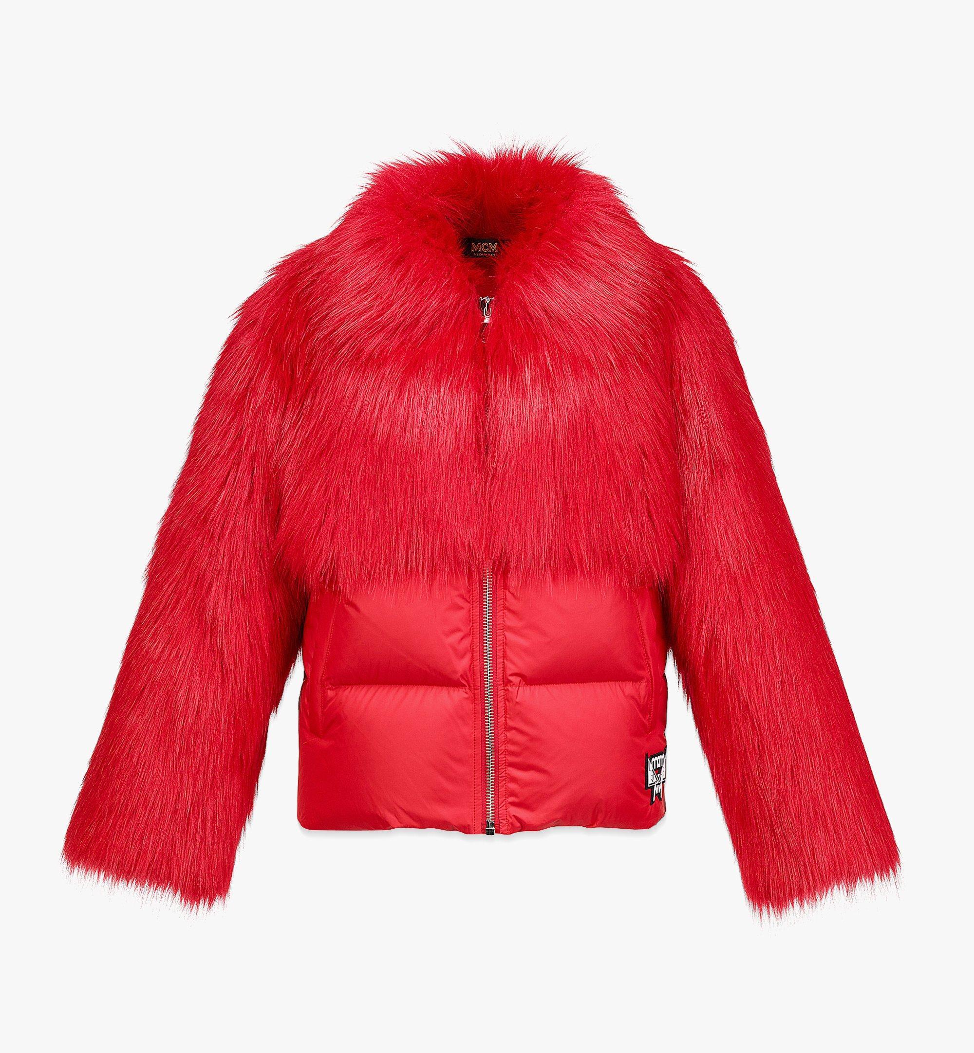MCM Women's Faux Fur Puffer Jacket Red MFCBAMM02R0038 Alternate View 1