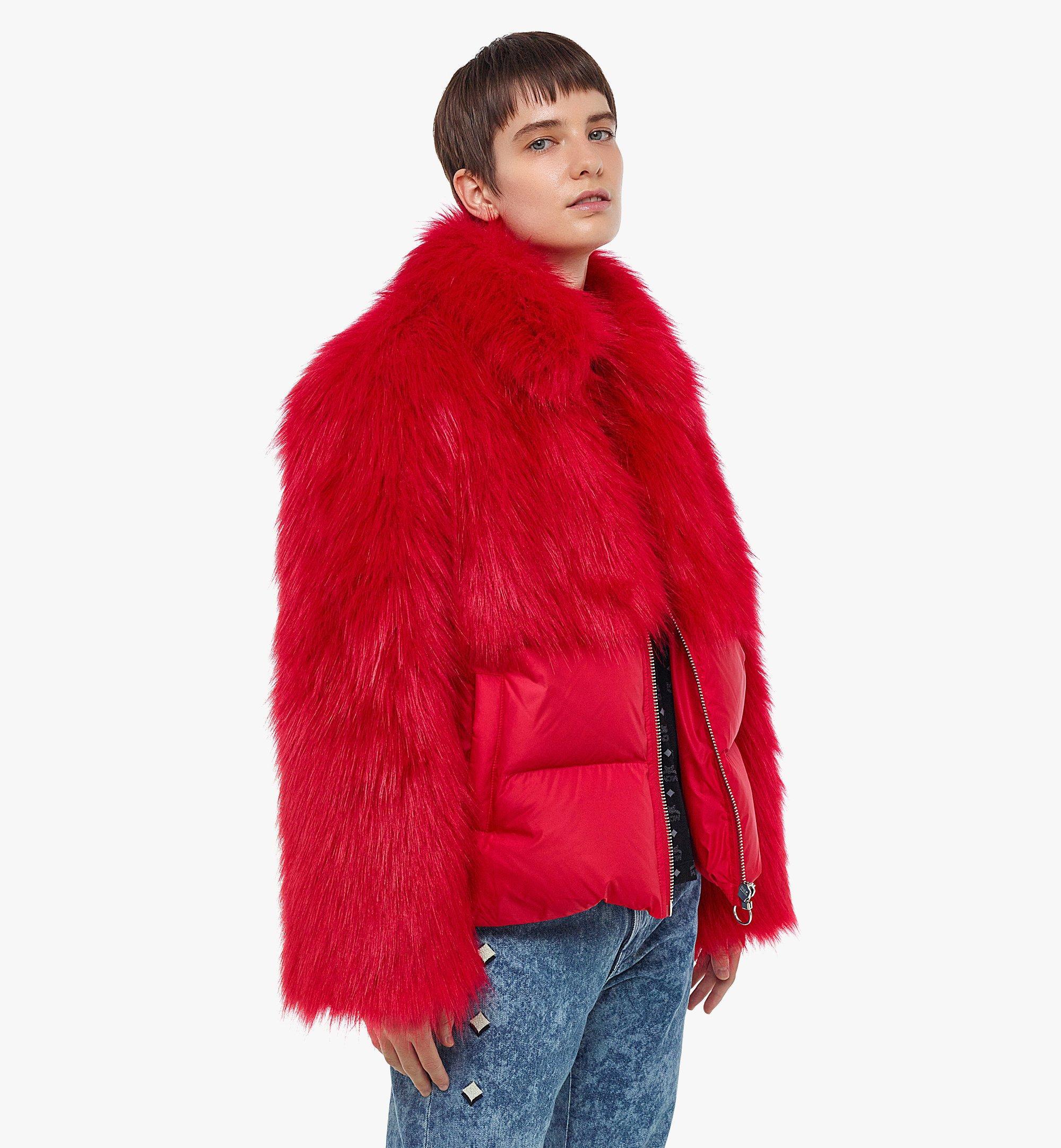 MCM Women's Faux Fur Puffer Jacket Red MFCBAMM02R0038 Alternate View 2